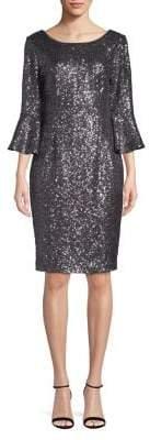 Alex Evenings Bell-Sleeve Glitter Shift Dress