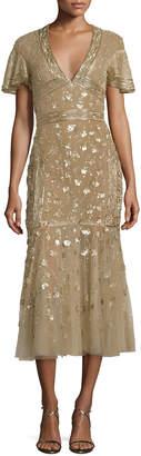 J. Mendel Floral-Embroidered Tulle Midi Dress, Gold