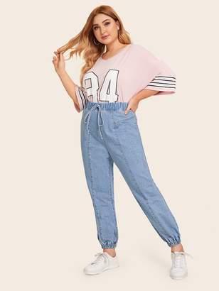 Shein Plus Contrast Stitching Drawstring Waist Jeans