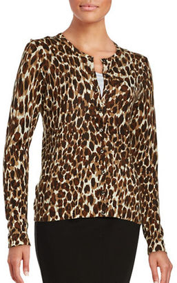 Lord & Taylor Animal Print Merino Wool Cardigan $120 thestylecure.com