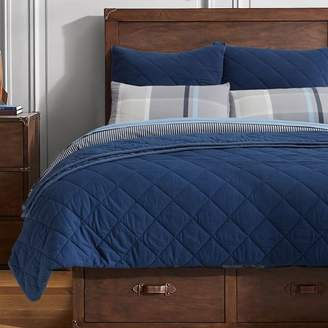 Pottery Barn Teen Finley Solid Quilt, Full/Queen, Navy