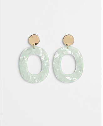 Express resin oval disc drop earrings