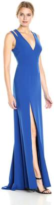 Halston Women's Sleeveless Deep V Neck Crepe Gown with Back Cut Outs