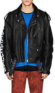 Balenciaga Men's Logo-Sleeve Leather Moto Jacket - Black
