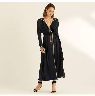 Amanda Wakeley Midnight Lame Wrap Dress