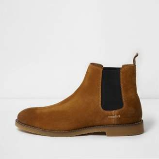 River Island Mens Tan brown suede chelsea boots