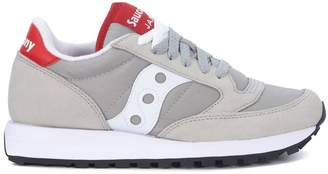 Saucony Jazz Grey, White And Red Leather And Nylon Sneakers