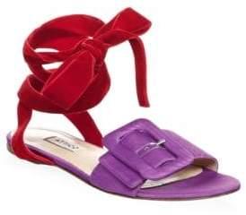 ATTICO Laced Velvet Flat Sandals