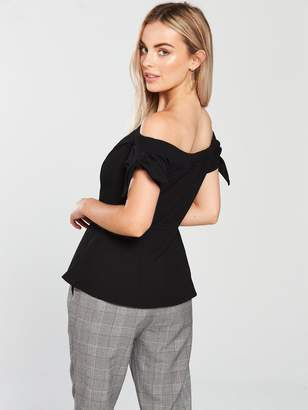 1f4d5794d0ba4d V By Very Petite V by Very Petite Button Front Jersey Top - Black