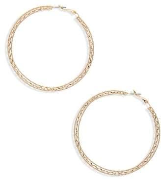 BP Flat Detail Hoop Earrings