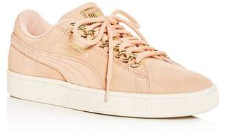 Puma Women's Classic X Chain Suede Lace Up Sneakers