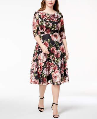 Sangria Plus Size Printed Lace A-Line Dress