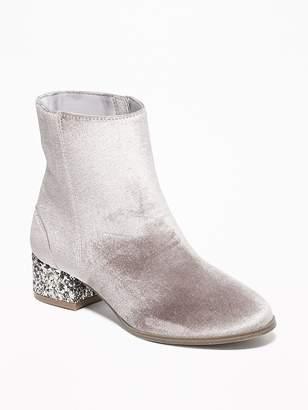 Old Navy Velvet Glitter Block-Heel Booties for Girls