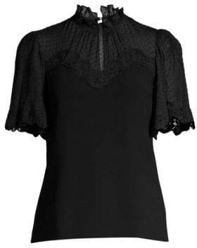 Rebecca Taylor Short Sleeve Crepe Lace Top