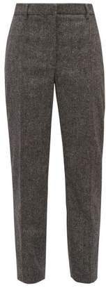 Burberry Wiluna Cropped Tapered Leg Wool Trousers - Womens - Dark Grey