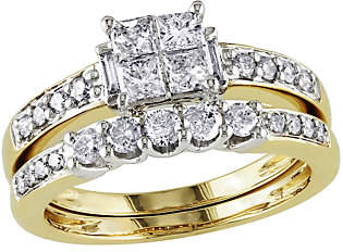 Affinity Diamond Jewelry Cluster Diamond Ring Set, 14K Yellow Gold, by A