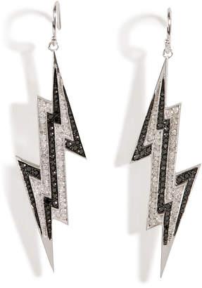 Lynn Ban Sterling Silver Lightening Bolt Earrings with Diamonds