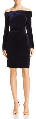 Eliza J Off-the-Shoulder Velvet Dress