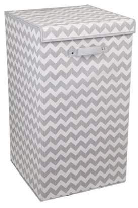 Laundry by Shelli Segal Home Basics Gray and White Chevron Folding Hamper