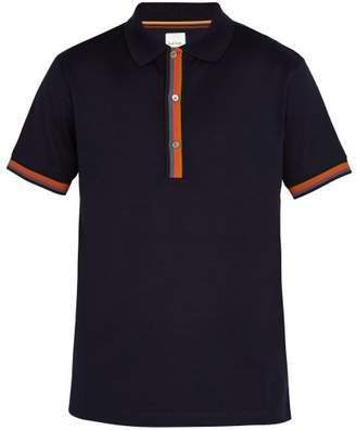 Paul Smith Striped Placket Cotton Pique Polo Shirt - Mens - Navy