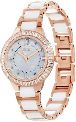 Diamonique Baguette Cut Ceramic Link Watch