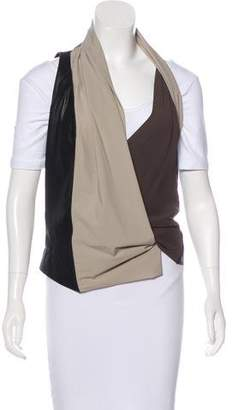 Rick Owens Leather-Accented Silk Vest