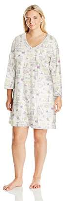 Carole Hochman Women's Plus Size 3/4 Sleeve Novelty Print Sleepshirt