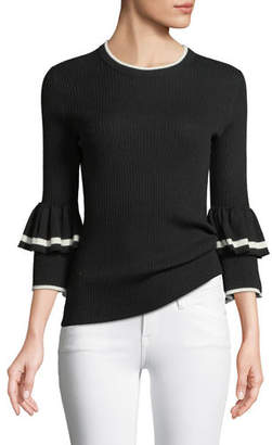 Frame Ruffle-Cuff Rib-Knit Wool Sweater