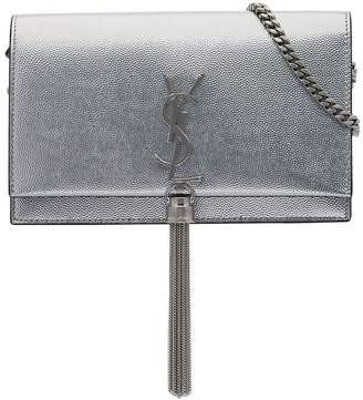 Saint Laurent metallic silver kate chain wallet leather bag