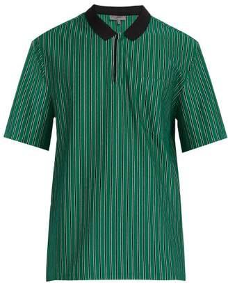 Lanvin Striped Cotton Pique Polo Shirt - Mens - Green