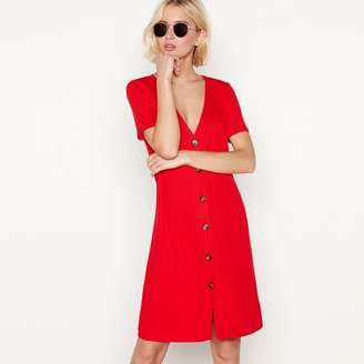 Red Herring Red Ribbed V-Neck Button Through Mini Dress