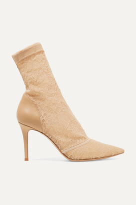 Gianvito Rossi Brinn 85 Stretch-lace And Leather Sock Boots - Beige