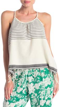 19 Cooper Striped Fringe Trim Sleeveless Blouse