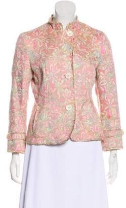 Akris Punto Long Sleeve Floral Jacquard Blazer