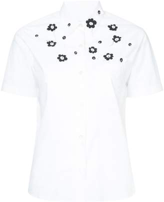 Jimi Roos appliqué flower short sleeve shirt