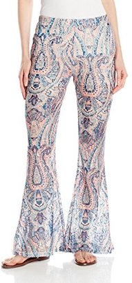 Buffalo David Bitton Women's Fara-Flare Paisley Printed Lace Knit Flare Pant $59 thestylecure.com