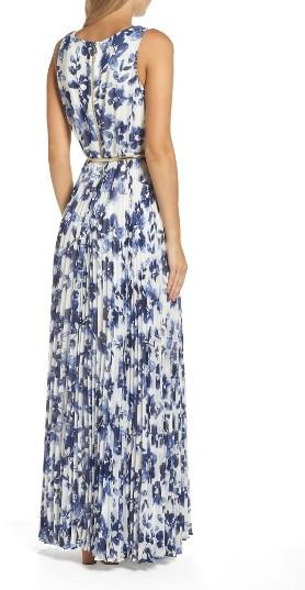 Women's Eliza J Floral Pleat Chiffon Maxi Dress 4