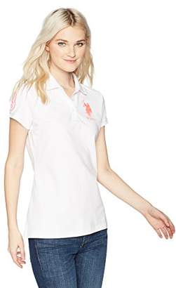 U.S. Polo Assn. Women's Neon Logos Short Sleeve Polo Shirt