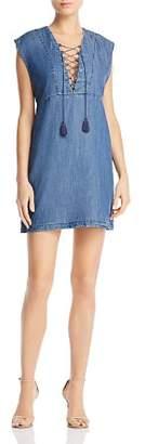 Aqua Lace-Up Chambray Dress - 100% Exclusive