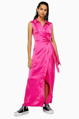 Topshop Womens **Hot Pink Silk Maxi Dress By Boutique - Pink
