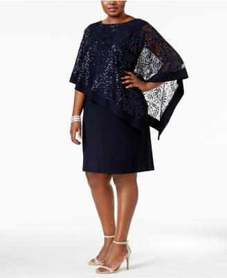 R & M Richards Plus Size Sequined Lace Cape Dress $99 thestylecure.com