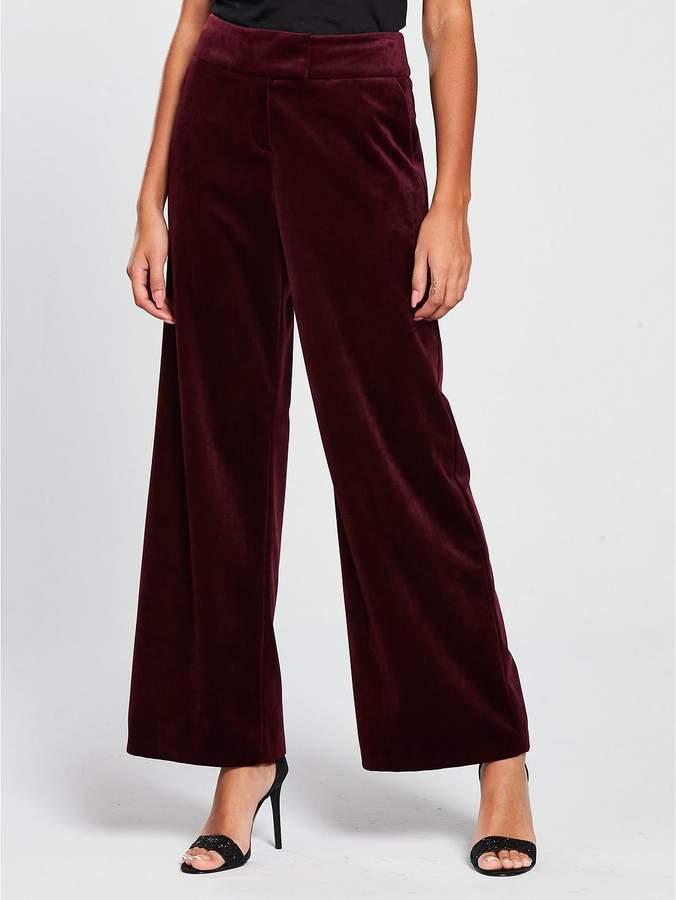 Velvet Wide Leg Suit Trouser - Burgundy