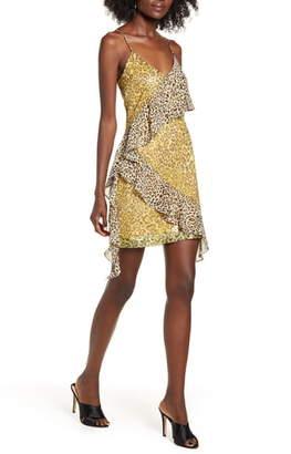 Endless Rose Spangle Leopard Pattern Minidress