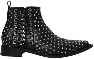 Alexander McQueen 20mm Braided Chain Studs & Leather Boots