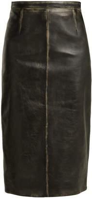 Miu Miu Distressed-leather pencil skirt