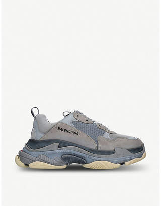 Balenciaga Triple S two-tone leather and mesh trainers