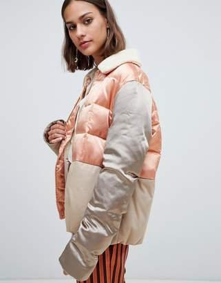 Maison Scotch satin and canvas quilted bomber jacket