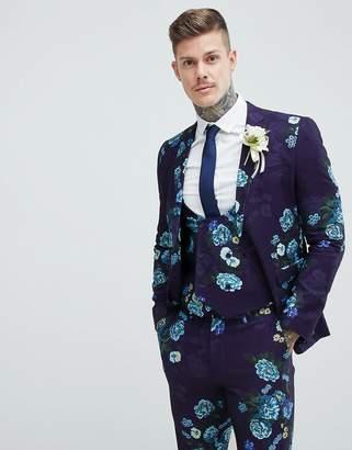 Asos Design Wedding Skinny Suit Jacket In Navy Floral Linen Look