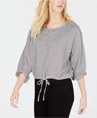 Almost Famous Juniors' Striped Drawstring Top