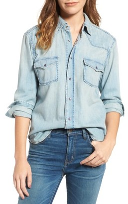 Women's Current/elliott The Western Denim Shirt $198 thestylecure.com